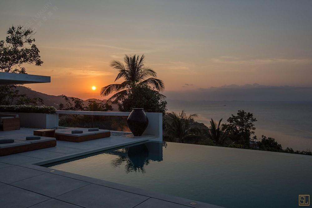 泰国苏梅岛青瓷别墅夕阳